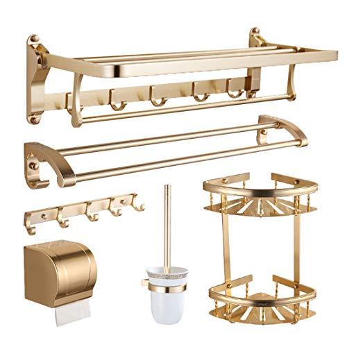 DONGCY Badregal Eckablage Duschkorb Handtuchhalter Duschablagen Bohren für Bad Aus Aluminium Oxidierte Oberfläche(Sechs Sätze)
