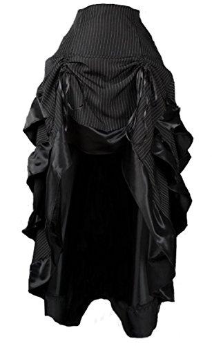 Dark Dreams Gothic Steampunk Burlesque Bustle Rock Skirt Pinstripe Nadelstreifen Neo Victorian, Größe:M