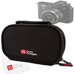 DURAGADGET Black Neoprene Lightweight Zip-Locked Carry Case with Accessories Space for Olympus TG-620 / TG-835, Olympus OM-D EM-5 & Nikon 1 V1