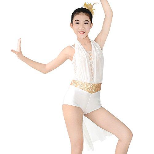 Tanz Unitard Kostüm Zeitgenössischer (MiDee Modernes Mädchen Hemdchen, Oder So Was Pailletten Latin Kleid Tanz Kostüm (Weiß,)
