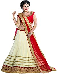 Param Creation Women's Net Lehenga Choli with Dupatta, Free Size (Off-white, PC 1112)