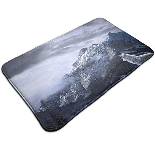 Bgejkos Wolf Look The Snow Mountain Cloud Entrance Mat Floor Mat Rug Doormat Indoor/Bathroom Rubber Non Slip 19.7x31.5In