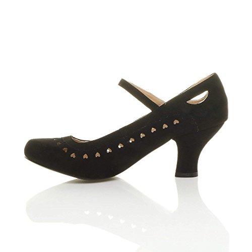 Damen Herzmuster Mary Jane Mittlerer Hohe Absatz Ausschneiden Pumps Klassisch Schuhe Größe Schwarz Wildleder