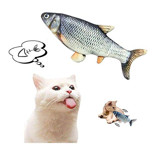 Notdark Realistische Plüsch Simulation elektrische Puppe Fisch, Spielzeug mit Katzenminze, Fisch USB Katzenspielzeug, Interaktive Katze Wagging Fisch Haustier Kauen Kissen für alle Katzen (Wels)