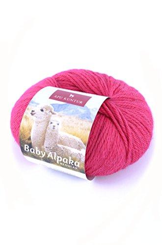 Baby-Alpaka Woll-Knäuel REGULAR 50g 100m Nadel 4 Strick-Häkel-Garn APU KUNTUR magenta rot pink