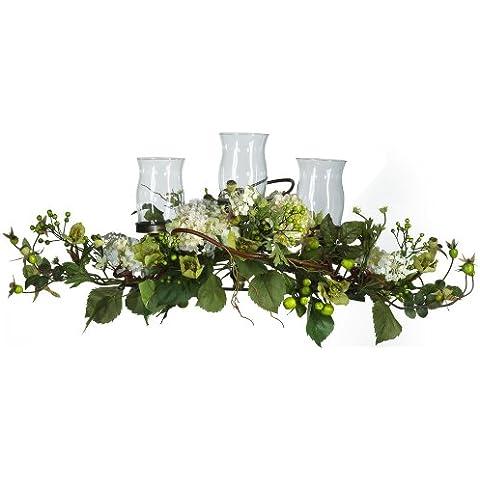Nearly Natural 4634-CR Hydrangea Triple Candleabrum pieza central-Cream