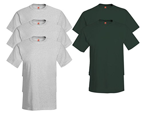 Hanes Mens Tagless Comfortsoft Crewneck T-shirt (Pack of 5) 3 Ash / 2 Deep Forest