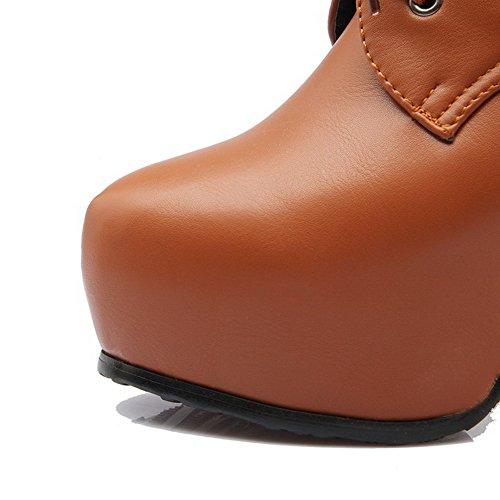 AgooLar Damen Knöchel Hohe Schnüren Weiches Material Hoher Absatz Rund Zehe Stiefel Braun