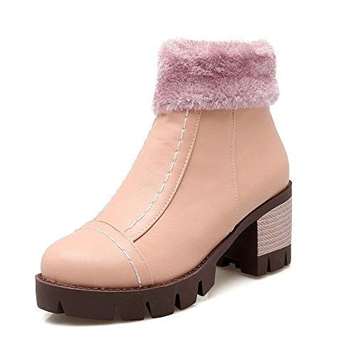 AllhqFashion Damen Niedrig-Spitze Reißverschluss Mittler Absatz Stiefel mit Schnalle, Pink, 36