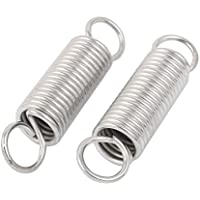 sourcingmap® 2Stk 48mm x 20mm x 2,5mm Metall Zwei Haken Zugfeder Silber