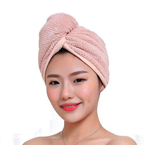 Fyore Schnelltrocknendes Haar Handtücher Baumwolle Mikrofaser Hair Turban Lange Haartrockentuch mit Knopf