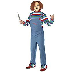 Smiffys Men's Chucky Costume, Top, Dungarees & Mask, Size: M, Color: Blue, 39965