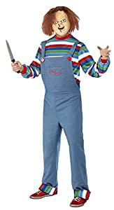 51b97be8f8 Smiffys Men's Chucky Costume, Top, Dungarees & Mask, Size: S, Color ...