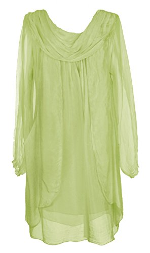 Für Shirt Dress Lime Frauen Green (Ladies Womens Italian Lagenlook Quirky Long Sleeve Rusched Neck Flap Front Silk Tunic Dress One Size UK 10-16 (One Size, Lime Green))
