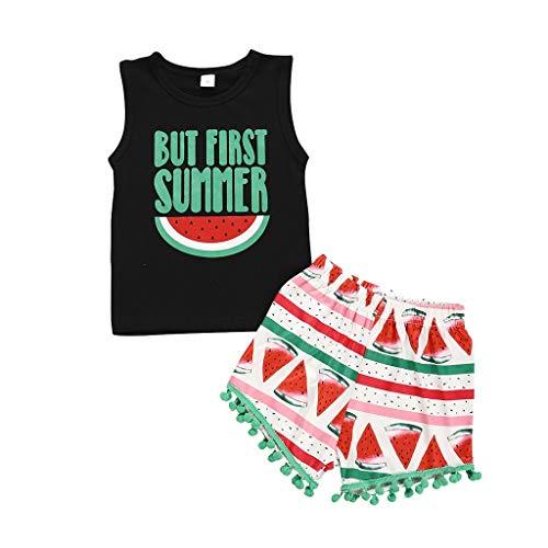 wuayi  Baby Bekleidungssets, Baby Jungen Mädchen Ärmelloses T-Shirt Weste + Wassermelone Quasten Shorts Kleidung 1-5 Jahre (1 2 Ding Ding Shirts)