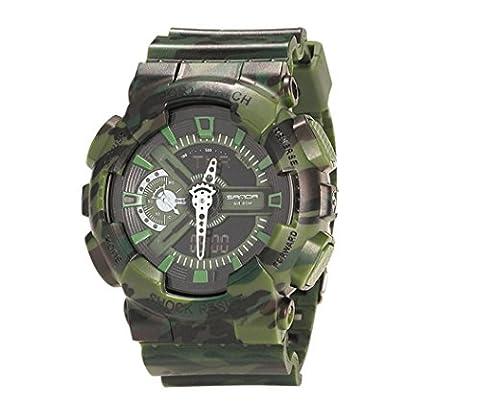 Homme montre, Honestyi Camouflage double affichage électronique de lumière froide Sport imperméable montre pour homme,