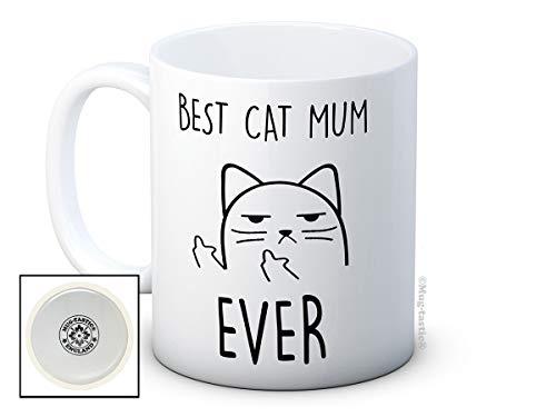 Mug humoristique avec chat malpoli et « Best Cat Mum Ever »