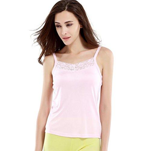 Baymate Damen Spitze Spaghettiträger Tank Top Schlank Unterwäsche Unterhemd Achselhemd Pink