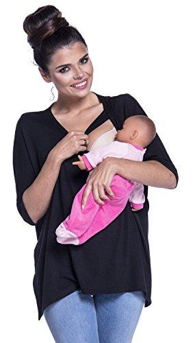 Zeta Ville -Top de grossesse allaitement surdimensionné maille fine - femme 229c Noir