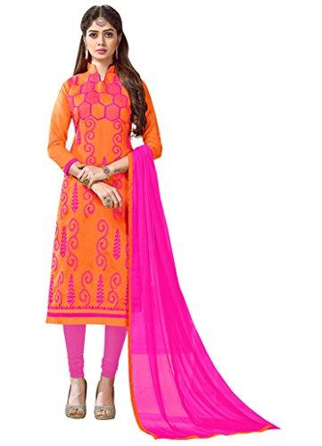 Orange Chanderi Embroidered Straight Salwar Kameez