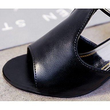 LvYuan Da donna Sandali PU (Poliuretano) Estate Footing Brillantini Quadrato Bianco Nero 7,5 - 9,5 cm Black