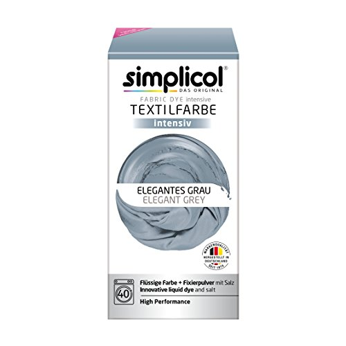 Simplicol Fabric Dye Intensive Elegant Grey: Washing Machine Dye Kit for Clothes & Fabrics - Pack Contains Liquid Dye & Dye Fixative - Textile Dyeing That's Safe For You & Your Washing Machine