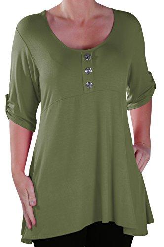 EyeCatch - Eva Aux femmes Bouton Avant Aavec Encolure Dégagée Tunique Grande Taille Dames T-shirt Long Tops Kaki