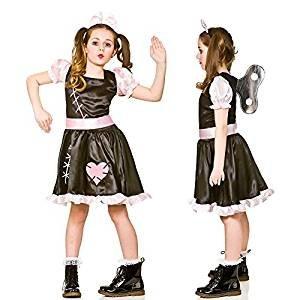 Für Kostüme Mädchen Ideen Halloween (Mädchen Wind Up Puppe Halloween Kostüm (Größe groß 8-10)