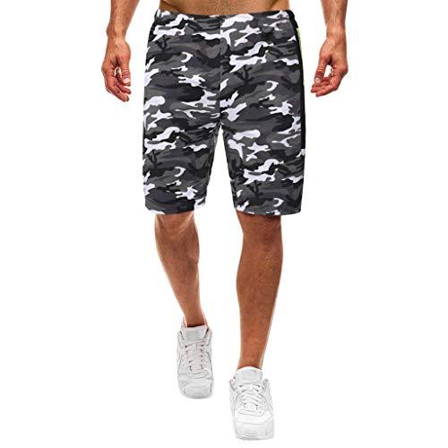 Prime day shorts,kurze Herren Hose Herren Sommer Shorts New Style Freizeit Camouflage Overalls Fashion Mehrfach Hosen von Evansamp(Grau,L)