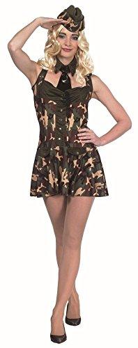 Militärfaschingskostüm in braun-grün-beige für Damen | 38 | 1-teiliges Militär Kostüm mit Kraeatte und Mütze | Soldatin Faschingskostüm für Frauen | Army Kleid für (Militär Frauen Kostüme)