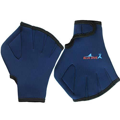 SANGDA Wasser-Handschuhe, gewebte Schwimmhandschuhe mit Handgelenkschlaufe, gut genäht, kein Verblassen, Größen für Herren, Damen, Erwachsene, Kinder, Wasserfestigkeitstraining, Streifen, blau, M