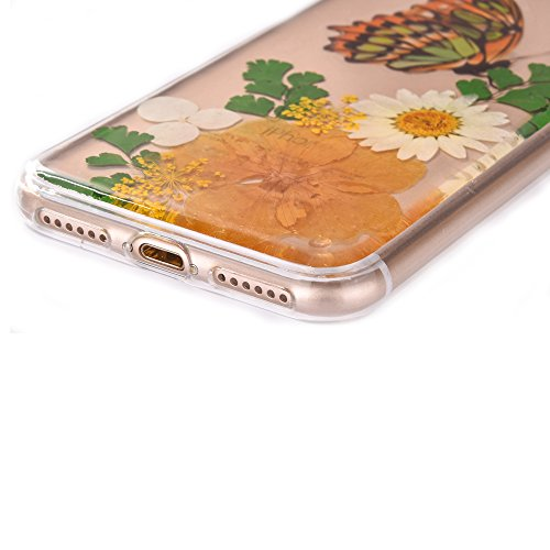 "iPhone 7Plus Handyhülle, CLTPY iPhone 7Plus Transparent Klare 3D Motiv Fall, [Ultra Hybrid] Echte Getrocknete Blumen Series Etui, Dünne Stoßfest Gummi Case für 5.5"" Apple iPhone 7Plus (Nicht iPhone 7) Floral 20"