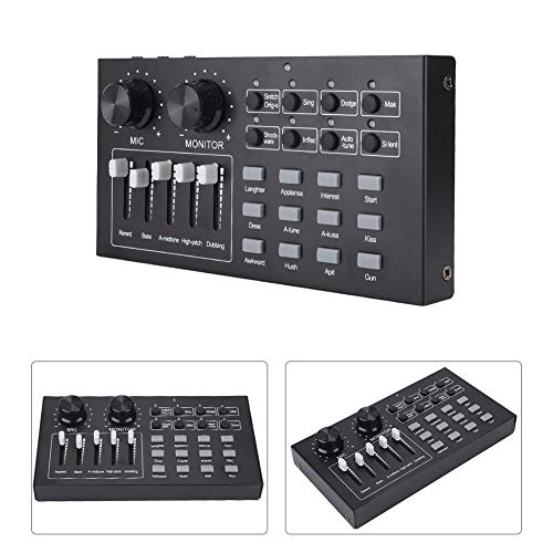 Tangxi Scheda Audio Esterna, Mixer Cambia Voce USB per Telefono Cellulare/Computer/PC, Scheda Audio Professionale per Trasmissione in Diretta