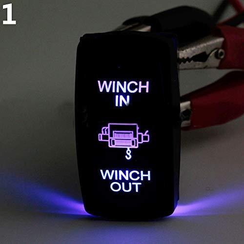 nieliangw0q - Verricello a bilanciere con Doppia Luce LED a 7 Pin, da 12 V e 24 V, con Interruttore on/off, Colore: Blu