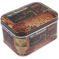 Xinjiener Caja de Almacenamiento Caja de Embalaje Rectangular Retro Flower Tea Tinplate Candy (Apple en