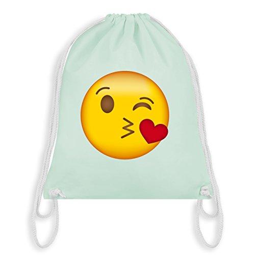(Comic Shirts - Emoji Kuss-Mund - Unisize - Pastell Grün - WM110 - Turnbeutel & Gym Bag)