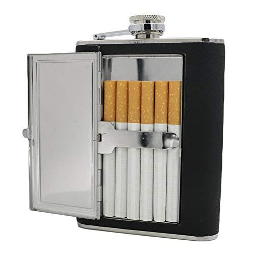 GLQ PU Leder Wrapped Edelstahl Embedded Cigarette Case-Cigarette Jug Funnel-Nicht einfach zu Rust/Break geeignet für das Klettern und Camping