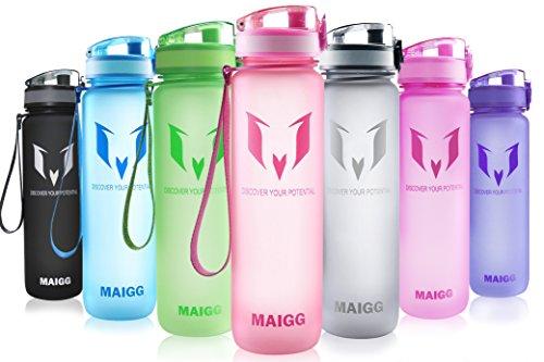 MAIGG Mejor Deportes Botella de agua - 500ml&1000ml - Plástico ecoló