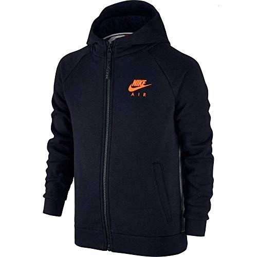 Toddler Full Zip Hoodie (Nike Air Boys Full Zip Hoodies (4T Toddler, Black (K4G) / Heather Grey/Orange))