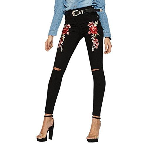 LAEMILIA Damen hohe Taille Blume gestickt Jeanshose Knöchel Skinny Bettler Jeans Bleistifthose (Gestickte Hinweis Weiß)