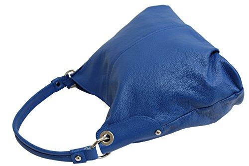 Ambra Moda Donna Borsa In Vera Pelle Borsa A Tracolla Shopper Messenger Bag Gl012 Blu