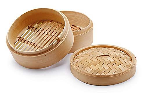 H&H Cuocivapore, Cestello per Cottura a Vapore, 2 Livelli, con Coperchio, Bambù, 23 cm