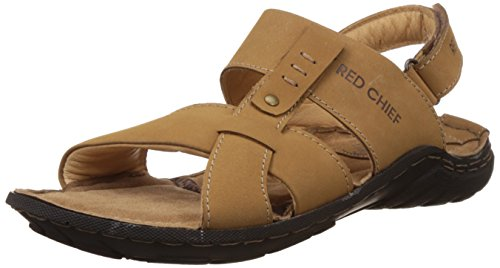 Redchief Men's Rust Leather Sandals and Floaters - 7 UK/India...