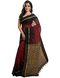 Avik Creations Women's Silk Cotton Saree With Blouse Piece (Ac-80_Red-Black)