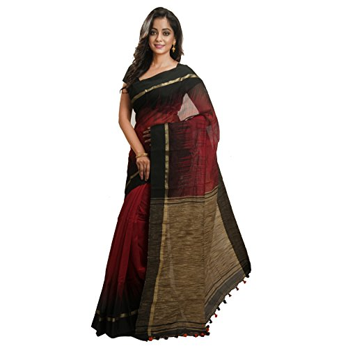 Avik Creations Silk Cotton Saree With Blouse Piece (AC-80_Red_Free Size)