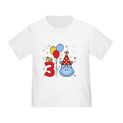CafePress - Blue Hippo Face 3Rd Birthday Toddler T-Shir - Cute Toddler T-Shirt, 100% Cotton