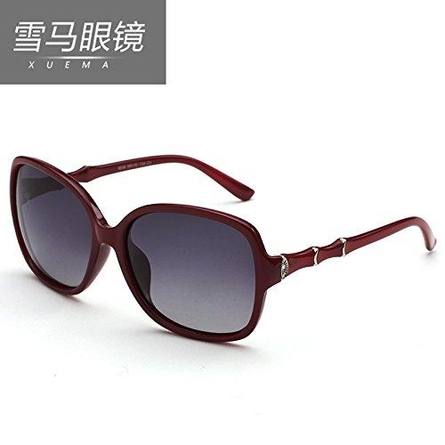 BM polarisierenden Sonnenbrillen, Frauen ist der große Rahmen, authentische Frauen, europäischen und amerikanischen Retro - Sonnenbrillen, rundes Gesicht, Flut, Charme, slub,Rotwein.