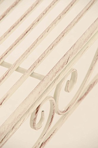 CLP Eisen-Gartenbank KARMA, Recamiere rechts, romantische Verzierungen,stabile Bank, Sonnenliege, ca. 160 x 50 cm, Antik Creme - 8