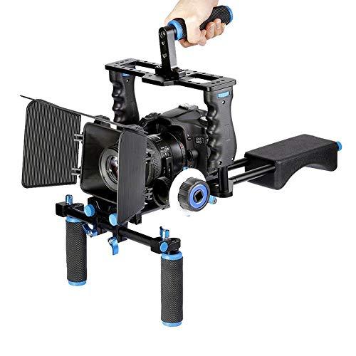 Professionelles Kit für das Erstellen von Filmvideosystemen, Schulterstabilisator für DSLR-Kameras mit Kamerakäfig, Matte Box, Griffstangen und Follow Focus für Canon Nikon Sony und andere DSLR-Videok -