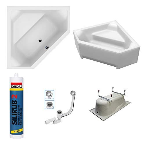 EXCLUSIVE LINE North Bath DOCCIA Rechteckbadewanne Acryl 140x140 cm mit Schürze TOP Ablaufgarnitur Hochwertiger Sanitäracryl